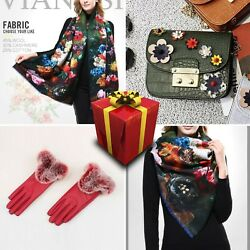 Set 4 Women Scarf Wool Cotton Cashmere Green Floral Bag Present Red Gloves