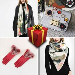 Set 3 Women Scarf Wool Cotton Cashmere Floral Bag Birthday Present Red Gloves