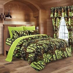 12 PC LIME CAMO QUEEN!! BEDDING SET COMFORTER SHEET CAMOUFLAGE CURTAINS NEON