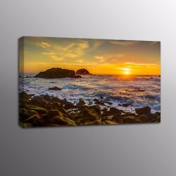 Landscape Canvas Art Print Seaside Sunset Wall Art Canvas Oil Painting Picture $19.80