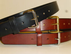AMISH STYLE ENGLISH BRIDLE LEATHER GUN BELT 1 1 2quot; USA MADE IN OHIO 12 13oz $29.50
