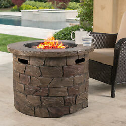 Outdoor Gas Fireplace Stone Patio Fire Pit Table Propane Heater Cover Furniture