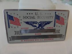 VINTAGE METAL SOCIAL SECURITY CARD USA Flag amp; Eagle New Mint Silver in color $5.99