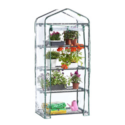 4 Tier Portable Mini Compact Greenhouse with Clear PVC Cover - Unit: 63 x 28 x