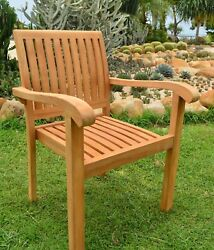 DCNP Qty 2 A-Grade Teak Wood Outdoor Patio Dining Set Stacking Arm Chair Pair