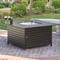 Fire Pit Table Extruded Aluminum Gas Outdoor Living With Cover Garden Yard NEW