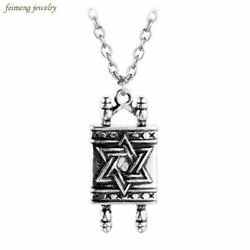 High Quality Jewish Hebrew Sefer Torah Scroll Religious Men Pendant Necklace Wom