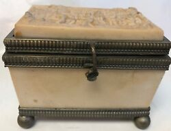 BACCANNAL ITALIAN ANTIQUE TRINKETJEWELRY BOX CASKET MOLDED RELIEF RESIN COMPOUND $150.21