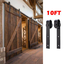 New 10FT Antique Country Steel Sliding Barn Wood Double Door Hardware Track Set $59.99