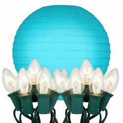LumaBase 24510 10 Count Electric String Lights with Paper Lanterns 10