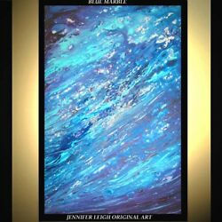 ORIGINAL LARGE ABSTRACT MODERN ART PAINTING Blue Marble Long 36quot;x24quot; JLEIGH $589.00