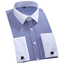 New Mens Dress Shirts French Cuff Formal Business Long Sleeve Button Down Shirts $17.95