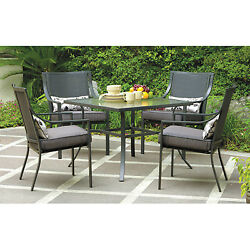 Outdoor Patio Garden Dining Glass Top Table Chairs 5 PC Set Grey Cushioned Seats