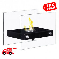 Tabletop Glass Fireplace Ventless Bio Portable Firepit Ethanol Home Heat Decor
