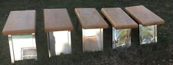 Vintage Chrome Wood Shoe Store Shop Mirrored Fitting Stool Bench Seat Chair Lot
