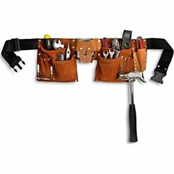 Tool Belts 11 Pocket Leather Construction Belt Work Apron With Adjustable Poly
