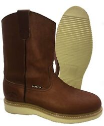 Men#x27;s Best Work Boots light W. Pull On Leather Brown oil slip resistant Sz 7 13 $59.99
