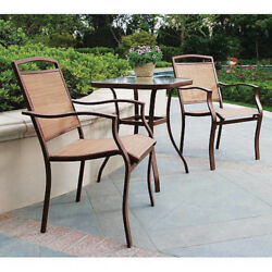 Chair And Table Set 3-Piece Outdoor Bistro Style Furniture Patio Deck Porch Tan