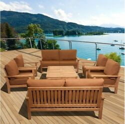 Patio Furniture Set San Francisco Deluxe 8 piece Deep Seating Amazonia Teak