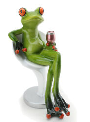 Novelty Funny Frog Figurine Holding Wine Cup Sitting on a Chair Relaxing Statue $16.99