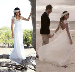 Boho Beach Wedding Dresses Cap Sleeves Summer Bridal Dresses Gowns Size 0 2 4 6