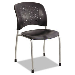 R ve Series Guest Chair W Straight Legs Black Plastic Silver Steel 2Carton