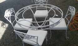 O.W. LEE Normandy Rose Wrought Iron 1950's Patio Set Dining Table With 4 Chairs