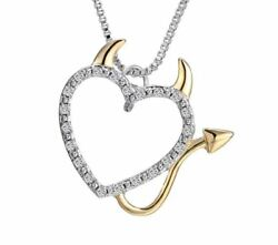 Gold and Silver plated She Devil Heart Pendant adjustable necklace for Women