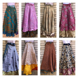 Reversible Silk Wrap Around Skirt Hippy Recycle Sarong Dress Fairtrade Nepal $26.00