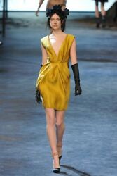 =CHIC= LANVIN Mustard Yellow Runway V Neck Silk Draped Cocktail Party Dress US4