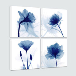Canvas Wall Art Print Painting Pictures Home Office Room Decor Blue Flowers 4pcs $24.89