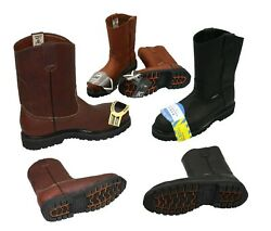 MEN#x27;S STEEL TOE WORK BOOTS PULL ON SAFETY GENUINE LEATHER OIL RESISTANT #410 $62.98