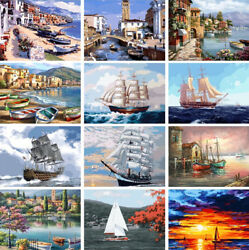 New Buildings Boats Scenery DIY Paint By Number Kit Oil Painting Wall Home Decor