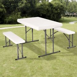 Costway Table And Benches Set Chair Seat Folding Picnic Patio Garden Outdoor