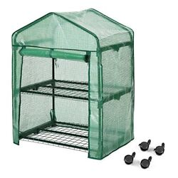 Finether 2-Tier Greenhouse with Clear Cover and Casters Portable Garden Hous...