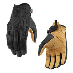 *Ships Same Day* ICON 1000 AXYS Leather Motorcycle Gloves Black $85.00