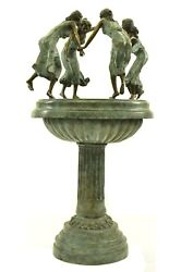 Large Bronze Water Fountain Statue with Girls Dancing Garden Sculpture Figurine
