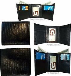 Lot of 5 Italian Style Lizard skin Printed Leather Man'sBlack Trifold wallet BN