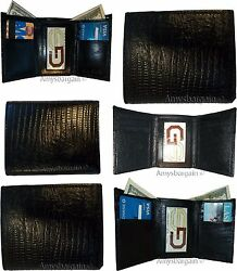 Lot of 6 Italian Style Lizard skin Printed Leather Man's Black Trifold wallet BN