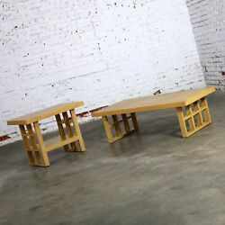 Mid Century Modern Blonde Oak Window Pane End Table and Coffee Table Pair $1495.00