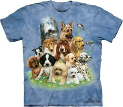 The Mountain Puppies in Grass Cute Dogs Blue Pets Cotton Animal T Shirt S 3X $19.96