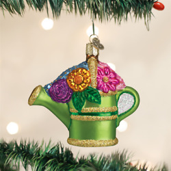 OLD WORLD CHRISTMAS WATERING CAN GARDENING GLASS CHRISTMAS ORNAMENT 32044