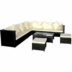 Black Outdoor Corner Sofa Two 2 Seater Couches Patio Furniture Set Rattan Table