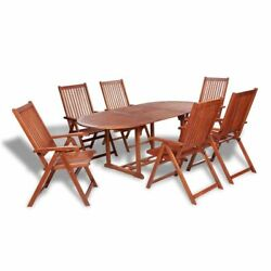 7pc Garden Dining Set Oval Extending Table Hard Wood 6 Folding Chairs Furniture