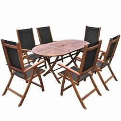 Wooden Dining Set Garden Patio Furniture Folding Oval Table 6 Textilene Chairs