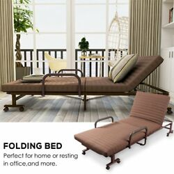 ONXO Folding Sofa Bed Chaise Lounge Chairs Adjustable Guest Bed Rollaway Metal