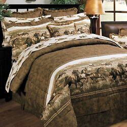 6-10 PC Cabin Lodge Bedding Set Wild Horses Karin Maki Comforter Sheets Curtains