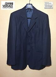 GIANNI VERSACE COUTURE Suits 100% Precious Wool Black Textile High End Italy