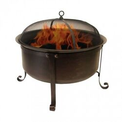 Fire Pit Kit Outdoor Portable Patio Wood Burning Round Deep Bowl Bronze Finish