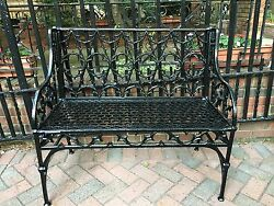 Antique French VAL D'OSNE  Iron Gothic Revival GARDEN BENCH Outdoor Patio Seat
